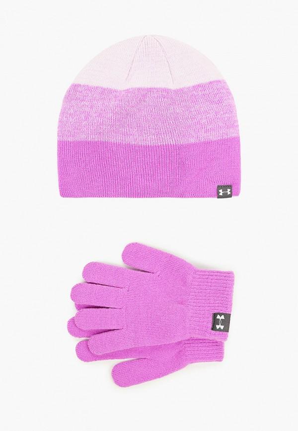 шапка under armour для девочки, фиолетовая