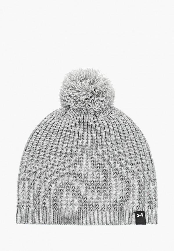 женская шапка under armour, серая