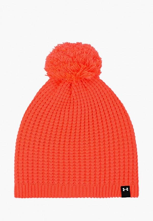 женская шапка under armour, оранжевая