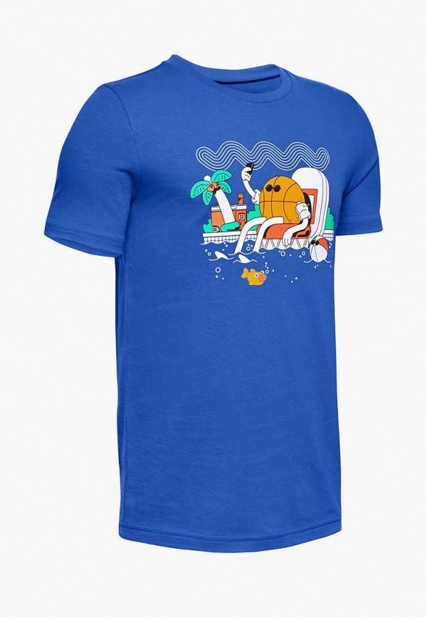 футболка с коротким рукавом under armour для мальчика, синяя