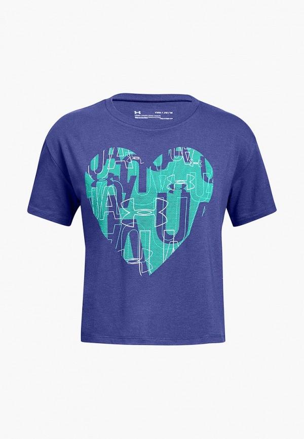 спортивные футболка under armour для девочки, фиолетовая