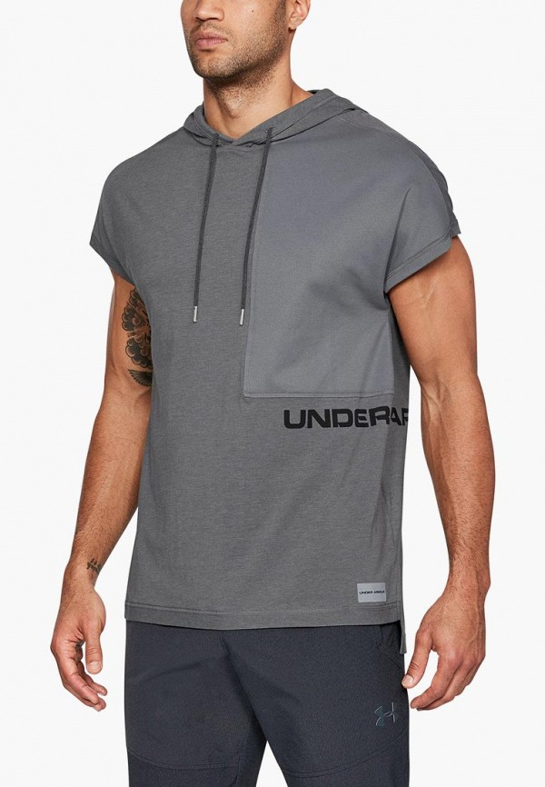 Купить Футболка спортивная Under Armour, UA Pursuit SS Hooded Tee, UN001EMCUIM2, серый, Осень-зима 2018/2019