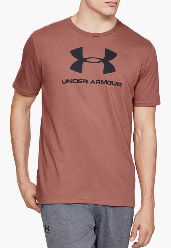 мужская спортивные футболка under armour, коричневая