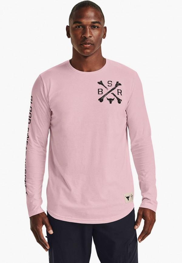 мужской лонгслив under armour, розовый