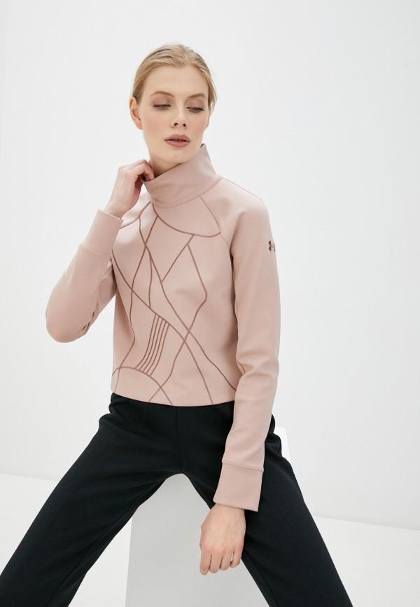 женский лонгслив under armour, розовый