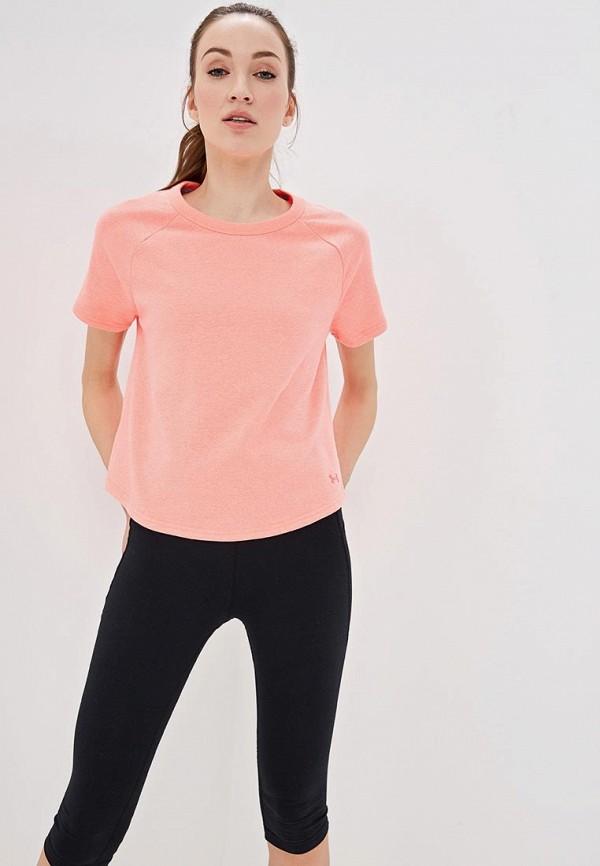 женская футболка under armour, розовая