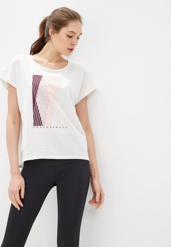 женская спортивные футболка under armour, белая