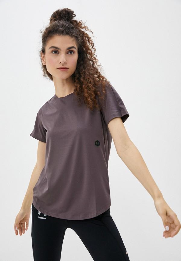 женская спортивные футболка under armour, фиолетовая