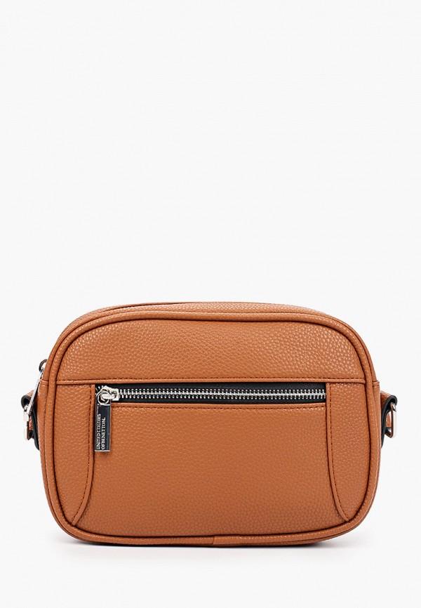 женская сумка united colors of benetton, коричневая