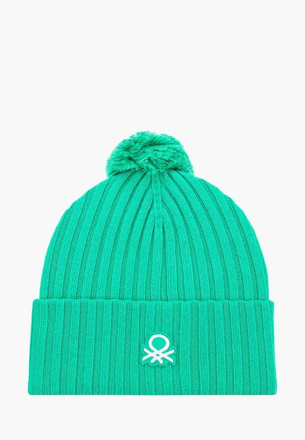 женская шапка united colors of benetton, зеленая