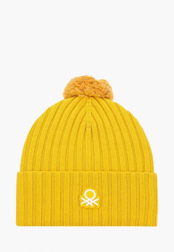 женская шапка united colors of benetton, желтая