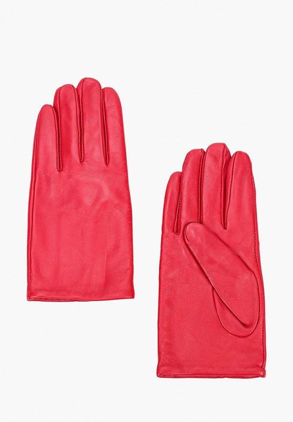 женские кожаные перчатки united colors of benetton, красные