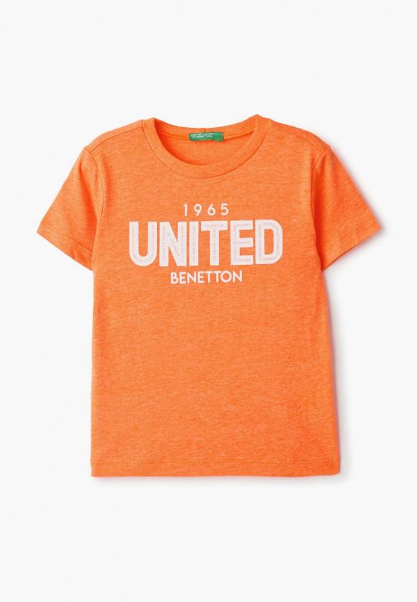 футболка с коротким рукавом united colors of benetton для мальчика, оранжевая