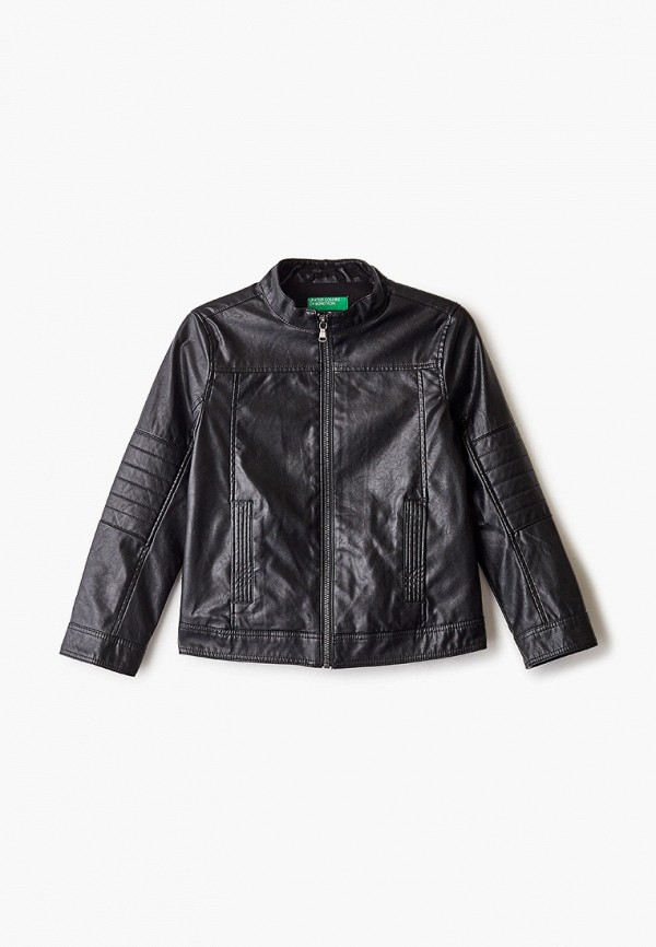 кожаные куртка united colors of benetton для мальчика, черная