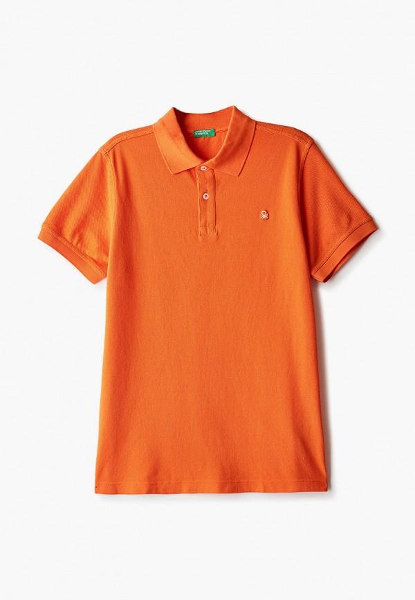 поло united colors of benetton для мальчика, оранжевое