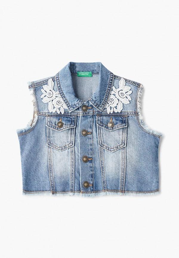 джинсовые жилет united colors of benetton для девочки, синий