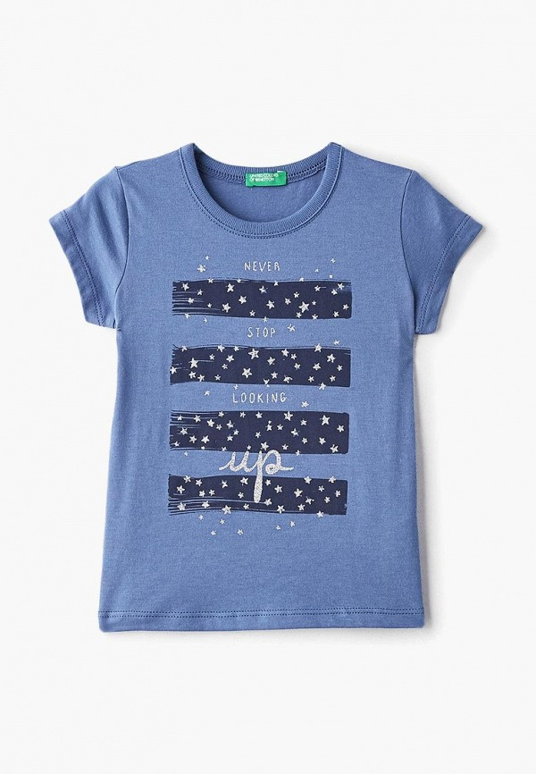 футболка с коротким рукавом united colors of benetton для девочки, синяя