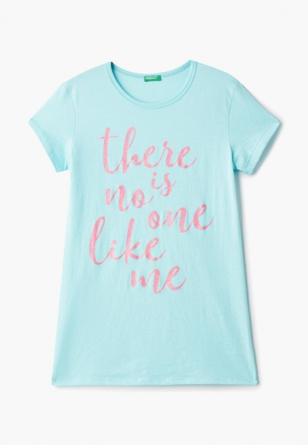 футболка с коротким рукавом united colors of benetton для девочки, голубая