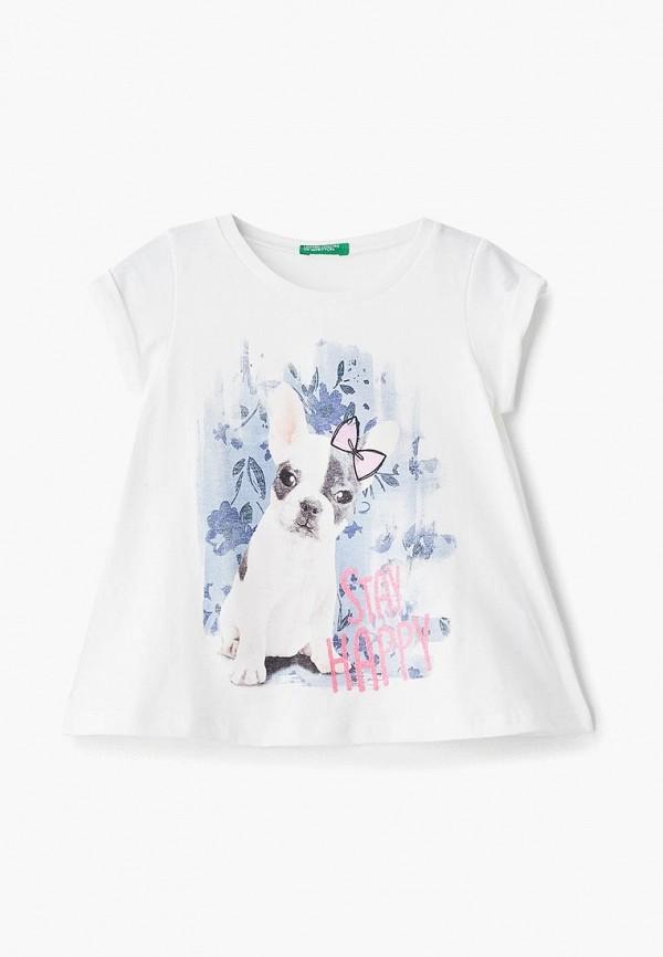 футболка с коротким рукавом united colors of benetton для девочки, белая