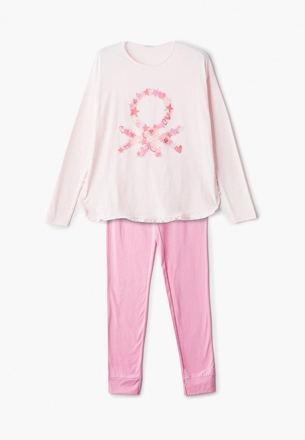 пижама united colors of benetton для девочки, розовая