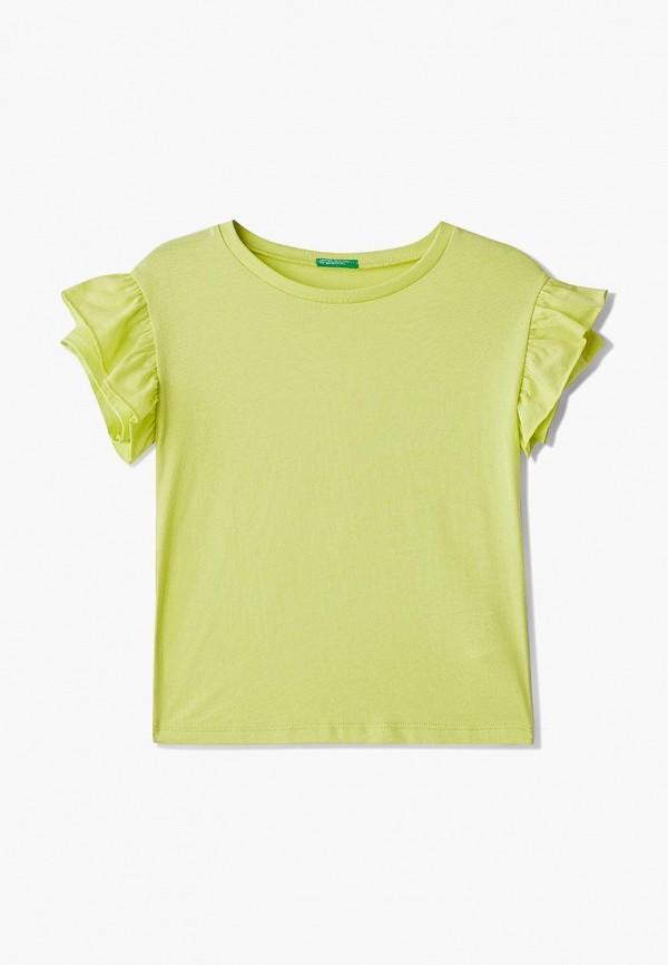 футболка с коротким рукавом united colors of benetton для девочки, зеленая