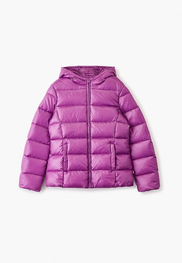 пуховик united colors of benetton для девочки, фиолетовый