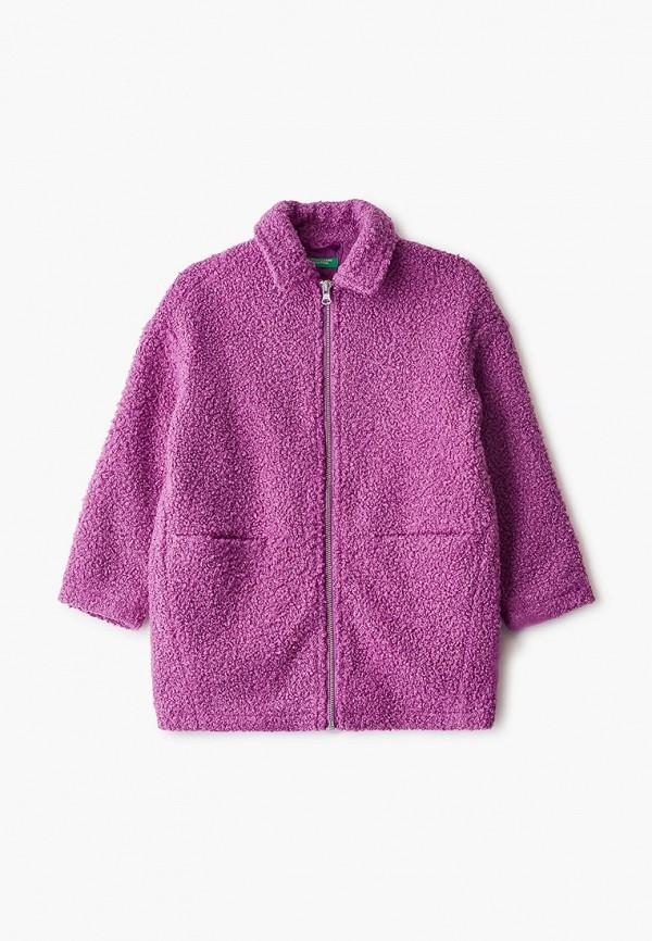 пальто united colors of benetton для девочки, фиолетовое