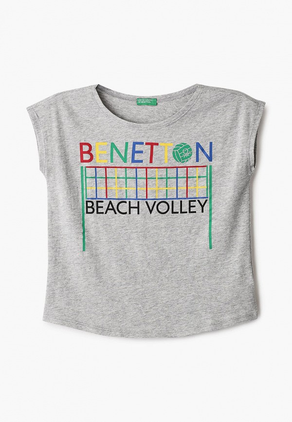 футболка с коротким рукавом united colors of benetton для девочки, серая
