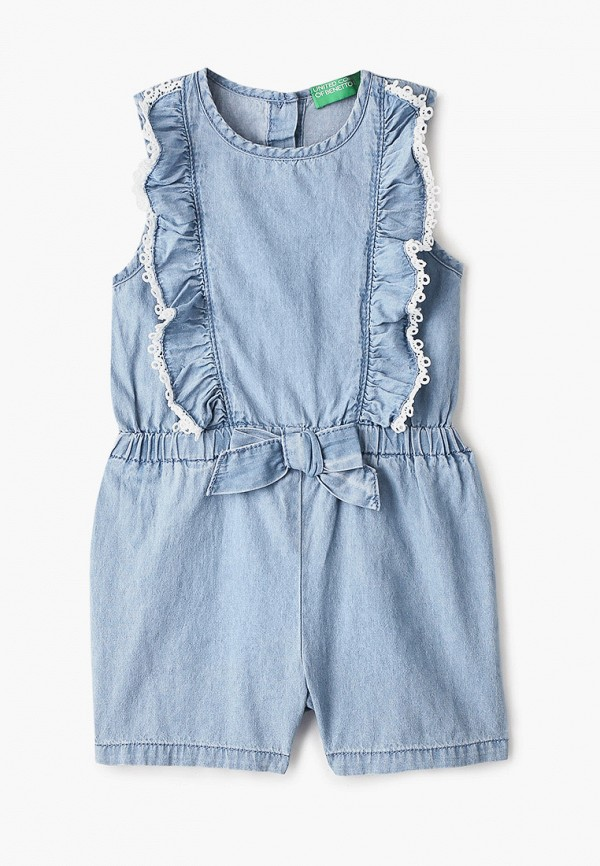 джинсовые комбинезон united colors of benetton для девочки, голубой