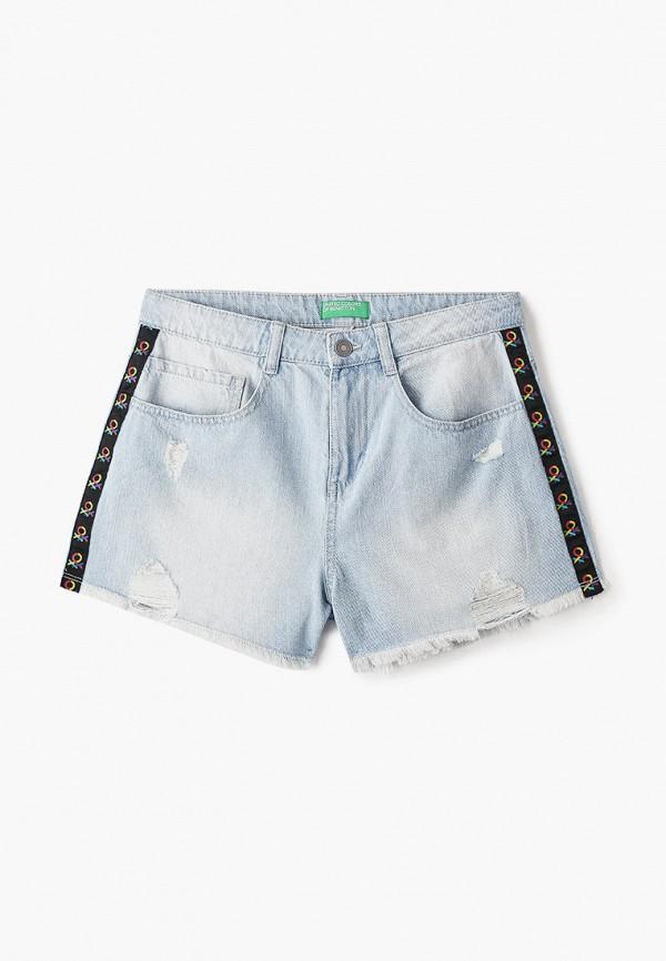 джинсовые шорты united colors of benetton для девочки, голубые