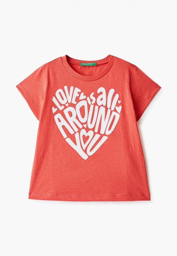 футболка с коротким рукавом united colors of benetton для девочки, красная