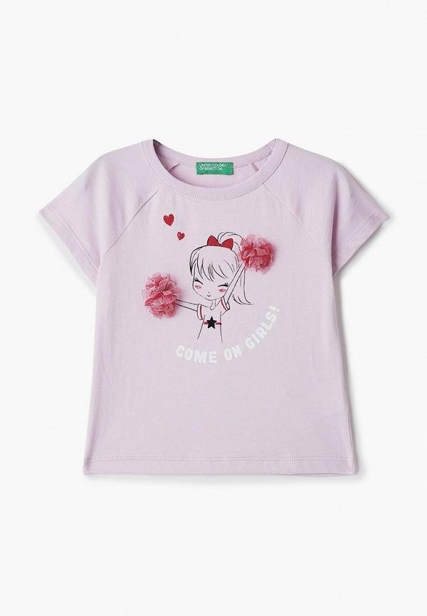 футболка с коротким рукавом united colors of benetton для девочки, розовая