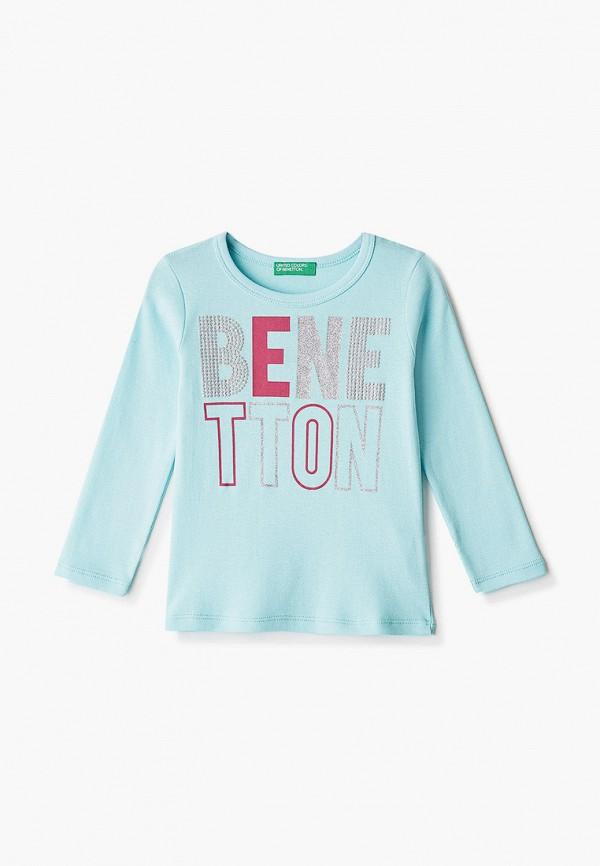 лонгслив united colors of benetton для девочки, голубой