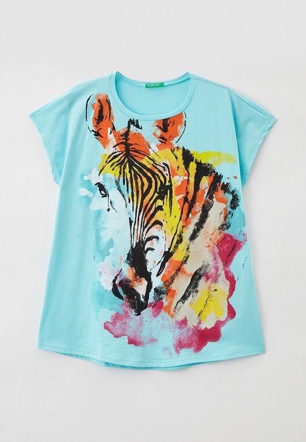 футболка с коротким рукавом united colors of benetton для девочки, бирюзовая