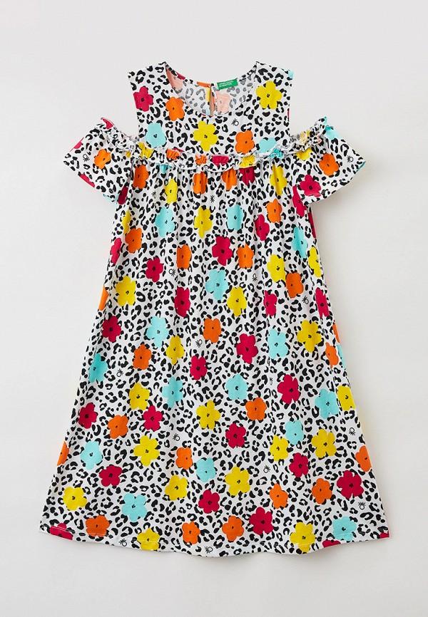 повседневные платье united colors of benetton для девочки, разноцветное