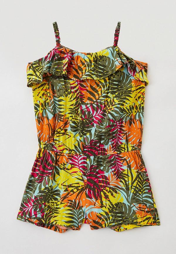 комбинезон с брюками united colors of benetton для девочки, разноцветный