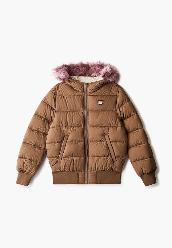 утепленные куртка united colors of benetton для девочки, коричневая