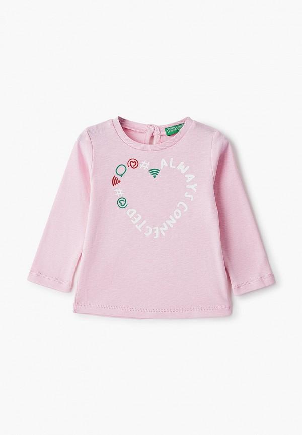 лонгслив united colors of benetton для девочки, розовый