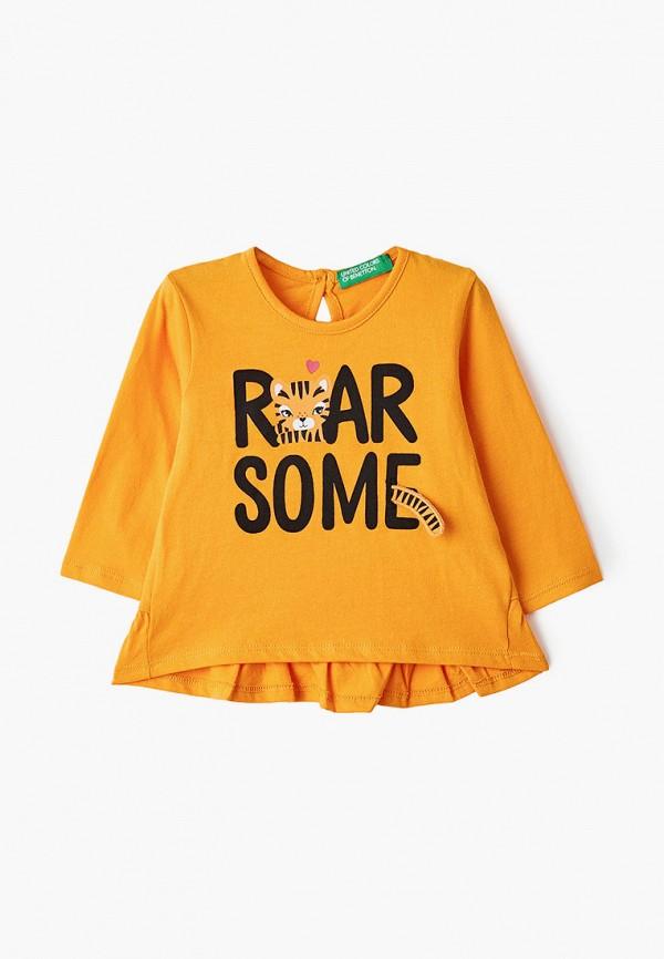 лонгслив united colors of benetton для девочки, оранжевый