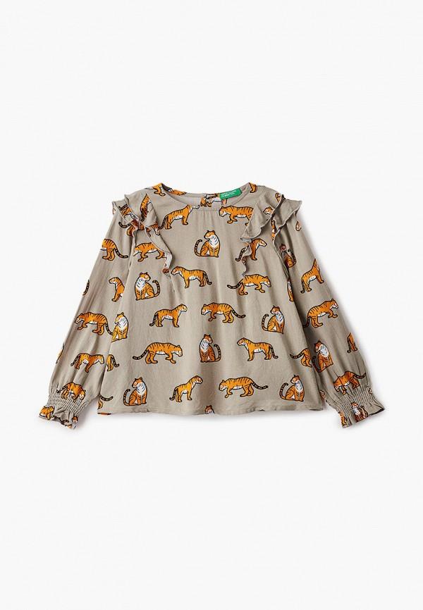 блузка united colors of benetton для девочки, бежевая