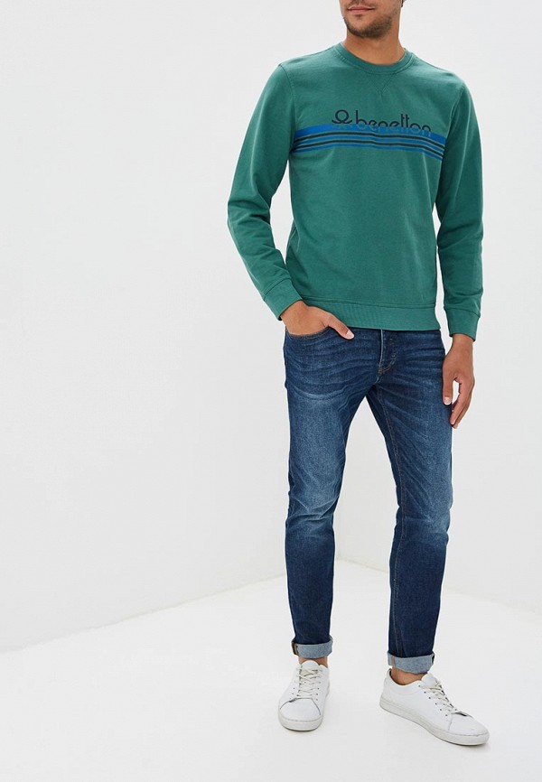 Фото 2 - мужские джинсы United Colors of Benetton синего цвета