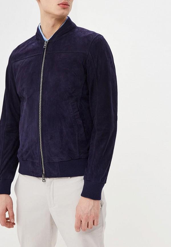 Фото - Куртку кожаная United Colors of Benetton синего цвета