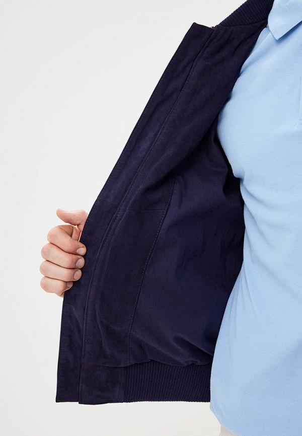 Фото 4 - Куртку кожаная United Colors of Benetton синего цвета