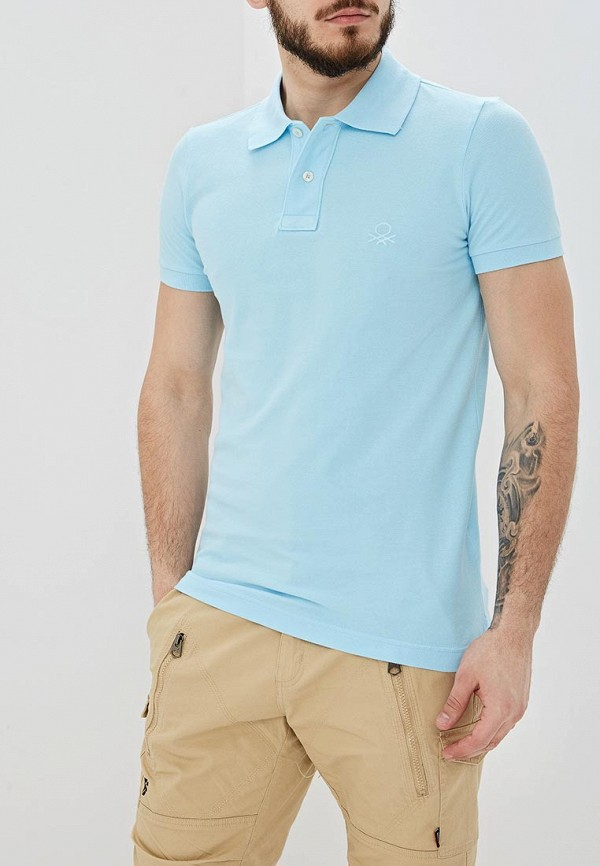 мужское поло united colors of benetton, голубое