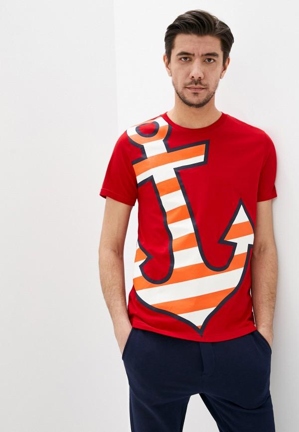 мужская футболка с коротким рукавом united colors of benetton, красная