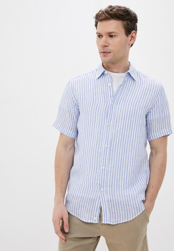мужская рубашка с коротким рукавом united colors of benetton, голубая
