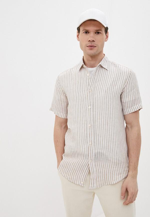 мужская рубашка с коротким рукавом united colors of benetton, бежевая