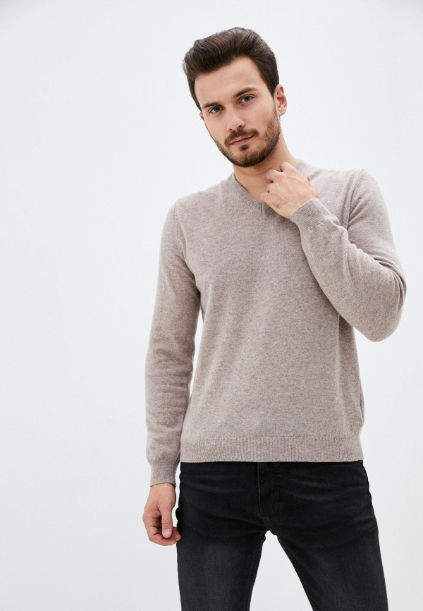 мужской пуловер united colors of benetton, коричневый