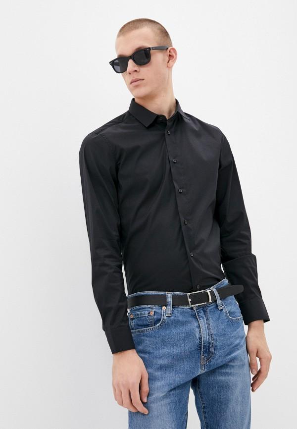 мужская рубашка с длинным рукавом united colors of benetton, черная