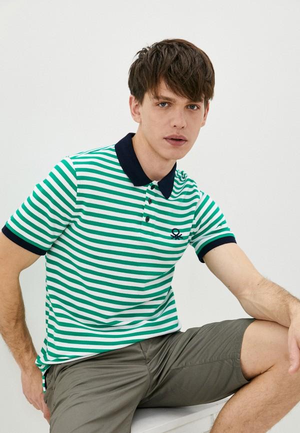 мужское поло с коротким рукавом united colors of benetton, зеленое